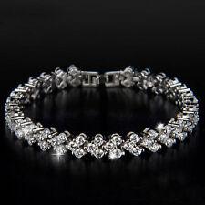 Crystal Bangle Rhinestone Bracelet Gift Women Fashion Roman Chain Clear Zircon