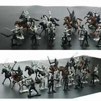 28Pcs/Set Soldier Knights Warriors Horses Medieval Model Action Figures Mini Toy