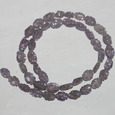 82CARTS 16'' 6x8to7x10MM NATURAL AMETHYST CARVED OVAL BEADS STRAND #524