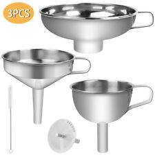 3PCS/Set Kitchen Filter Funnel Portable with Strainer Oil Stainless Steel Hopper