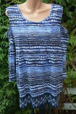 SUZANNE GRAE Size 3XL Blue & White Top NEW RRP$29.95 Cold Shoulder ROUND Neck