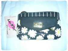 Luv Betsey Johnson Floral Daisy Striped Pouch Packet Zip Closure Wallet Clutch