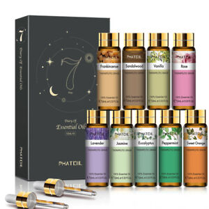 Plant Essential Oil Set (10ml x 9pcs) Air Diffuser Aroma Oil Home Relax Massage