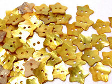 B472 Gold Yellow Mother of Pearl Star Sewing Craft Shell Buttons 20mm 30pcs