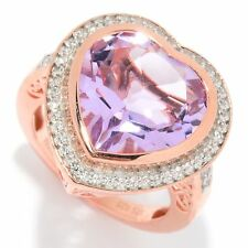 Large Pink Amethyst Heart Ring 6.46 ctw Rose Gold on Sterling Sz 8