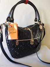 New MARINO ORLANDI Italian Monogram Black Leather Satchel, Shoulder Handbag!