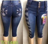 NEw Tush Push colombian 1485 medium blue high waist levanta cola capri shorts