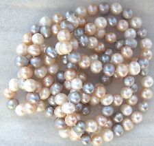 "48"" Cream, Pink and Gray Color Cultured Freshwater Pearl Necklace No Clasp"