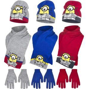 Minions Mütze, Schal & Handschuhe Set Kindermütze Kinder Jungen 52 54