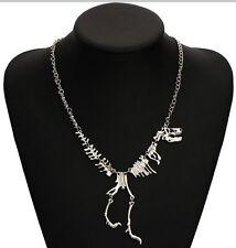 Silver Walking Skeleton Dinosaur Bones Trex Necklace Punk Goth UK Seller