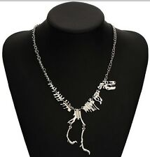 Plata Esqueleto Huesos De Dinosaurio Trex caminar Collar Punk Goth vendedor del Reino Unido