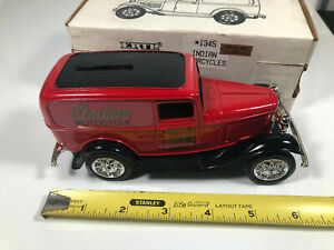 1932 Ford Panel Delivery Truck Die-Cast Bank w/ Indian Motorcycles Ad 1345 1/25