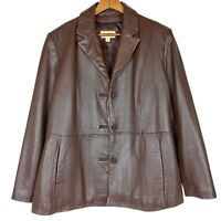 Wilsons Leather Womens Blazer XL Jacket Brown Buttery Soft Classic Button Front