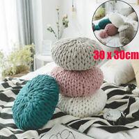 Chunky Knitted Cushion Handmade Candy Round Lumbar Pillow Crochet Home Decor NEW