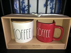 Rae Dunn COFFEE CELLAR/ CANISTER & RED MUG SET New Release 2021