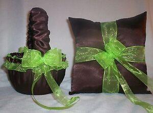 BROWN SATIN / LIME GREEN TRIM FLOWER GIRL BASKET & RING BEARER PILLOW