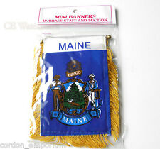 Maine Mini Polyester Us State Flag Banner 3 X 5 Inches