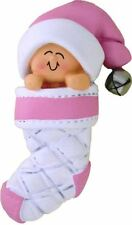 BABY GIRL CHRISTMAS ORNAMENT PERSONALIZED BABY IN A STOCKING FIRST GIFT PRESENT
