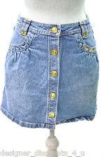 APPLE BOTTOMS Denim Jean Jeans Skirt blue gold embroidered skirt bling SZ 14 S