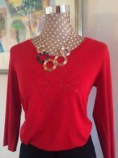 Luxus MARC CAIN Shirt / Longsleeve mit Strass, 3/4-Ärmel, Rot, N3 (Gr. 38), neu