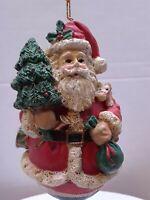 Santa w/ Tree, drum, bag Resin Figurine Christmas Ornament