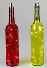 2-er Set Formano Glasflaschen innen mit Lichterkette LED Beleuchtung ca. 30 cm