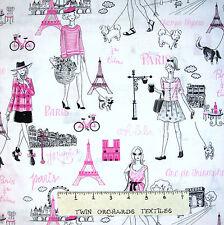 France Fabric - Eiffel Tower & Parisian Ladies White - Timeless Treasures YARD