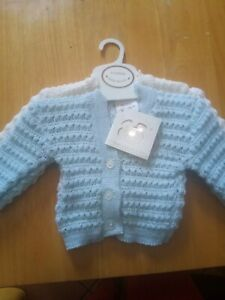 New Baby boy Knitted Cardigans white and Blue 0-3 Months Bebe bonito