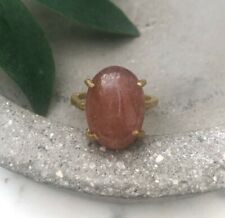 Size 7.5 Cherry Quartz Oval Gem Brass Claw Setting Cocktail Ring Gold Red Pink