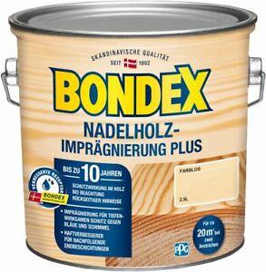 BONDEX Nadelholz-Imprägnierung Plus, 2,5 l, Holzschutzgrundierung für Außen