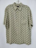 CLAIRBORNE Mens Hawaiian Shirt Size Large Geometric Pattern Rayon Olive Green
