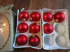 "9 KREBS Matt RED Christmas Ornaments 3"" w/Box"
