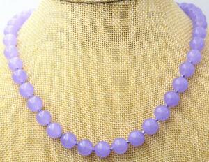 Handmade 8mm Natural Lavender Jade Round Gemstone Beads Necklace 22'' AAA