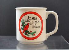 "Vintage Ceramic Emson ""Jesus Is The Reason For The Season"" Mug Cup 3 3/4"" GD14"