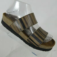 NAOT Pueblo Brown Striped Leather Slide Sandals Slip-on Womens Size 37/US 6-6.5