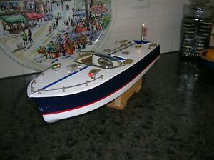 TOY WOOD BOAT SPEED BOAT BATTERY OPERATED BOAT ITO K&O WOODEN BOATJAPAN BOAT