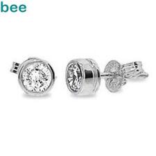 0.20 Carat 2Ct Bezelset Diamond Bezel Set Studs In 9ct 9k White Gold Earrings
