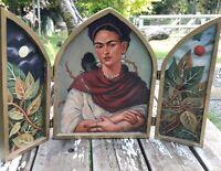 Folk Art Tribute to Frida Kahlo,Diego Rivera Original By Alix On Hinged Wood Box