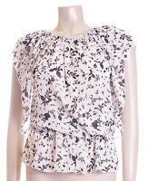 BNWT Ladies Cream & Black Leaf Print Sheer Blouse Top Size 12