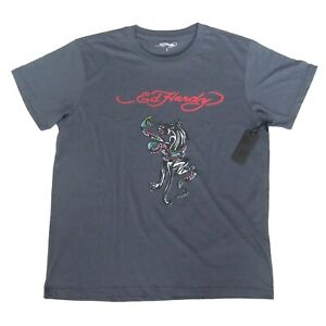Ed Hardy T-Shirt Snake Black Panther Graphic Tee Size Large Mens Grey NEW