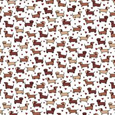 Fabric Dogs Dachshunds Cute Little on Timeless Treasures White Cotton 1/4 yd