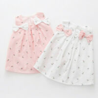 Toddler Kid Baby Girl Solid Cute Bow Print Floral Suspender Princess Party Dress
