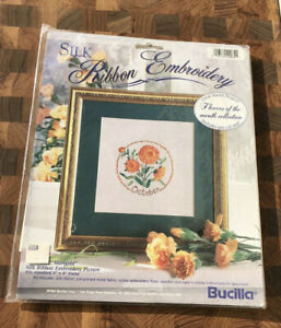NEW BUCILLA SILK RIBBON EMBROIDERY KIT OCTOBER FLOWER OF THE MONTH