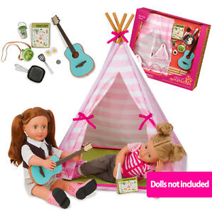 """NEW OUR GENERATION MINI SUITE TEEPEE Camping Tent ACCESSORY SET 46cm/18"""" Dolls"""