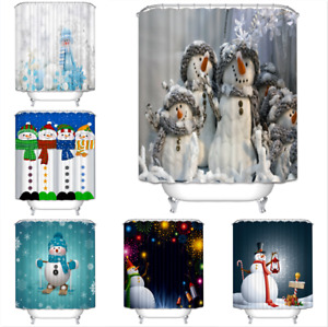 Snowman Holiday Extra Long Art Decor Shower Curtain Waterproof Polyester Fabric