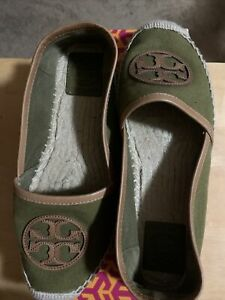 Pristine Condition Green Tory burch espadrilles No Flaws With Box Sz 8