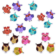 50Pcs Cartoon Owl Animal Wood Sewing Buttons 2 Holes Buttons Diy For-Kids_2 A1H3