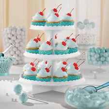 Blanc Présentoir Cupcake Carton Service Plate-Forme Niveau 3 Buffet Gâteau