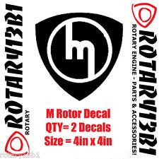 M ROTOR DECALS STICKER ROTARY ENGINE RX7 RX2 RX8 REPU WANKEL POWER BLACK 2pcs