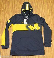 Womens Adidas Michigan Wolverines Sideline Climawarm Sweatshirt Blue-MT